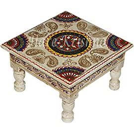 Hare Krishna Wood Hand Painted Designer Bajot Table (White, 9x9x5.5inch, Small)