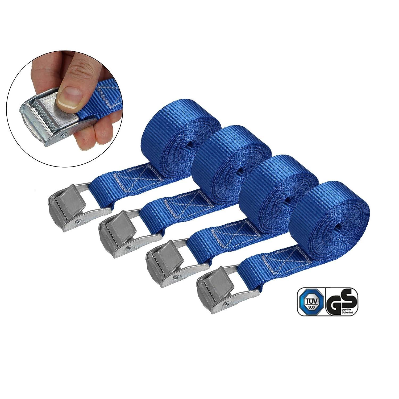 Cinghia di fissaggio cinghie di tensione con fibbia cinghie legabagagli sicura del carico resistenza fino a 250 kg DIN EN 12195-2 Verpackungseinheit:6er Pack 2.5 cm x 4 m