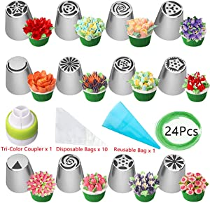 Russian Piping Tips Set, Wowdecor 24pcs Supplies Kit, Icing Nozzles Flowers Shaped, Frosting Bags and Tips Baking Supplies