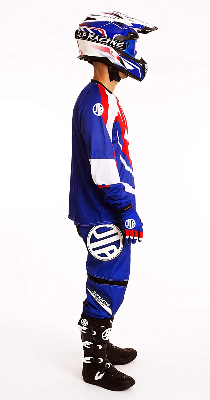 Traje Moto Cross Quad para BTT MTB BMX JLP Racing Azul Blanco Rojo Tricolor Maillot Guantes.