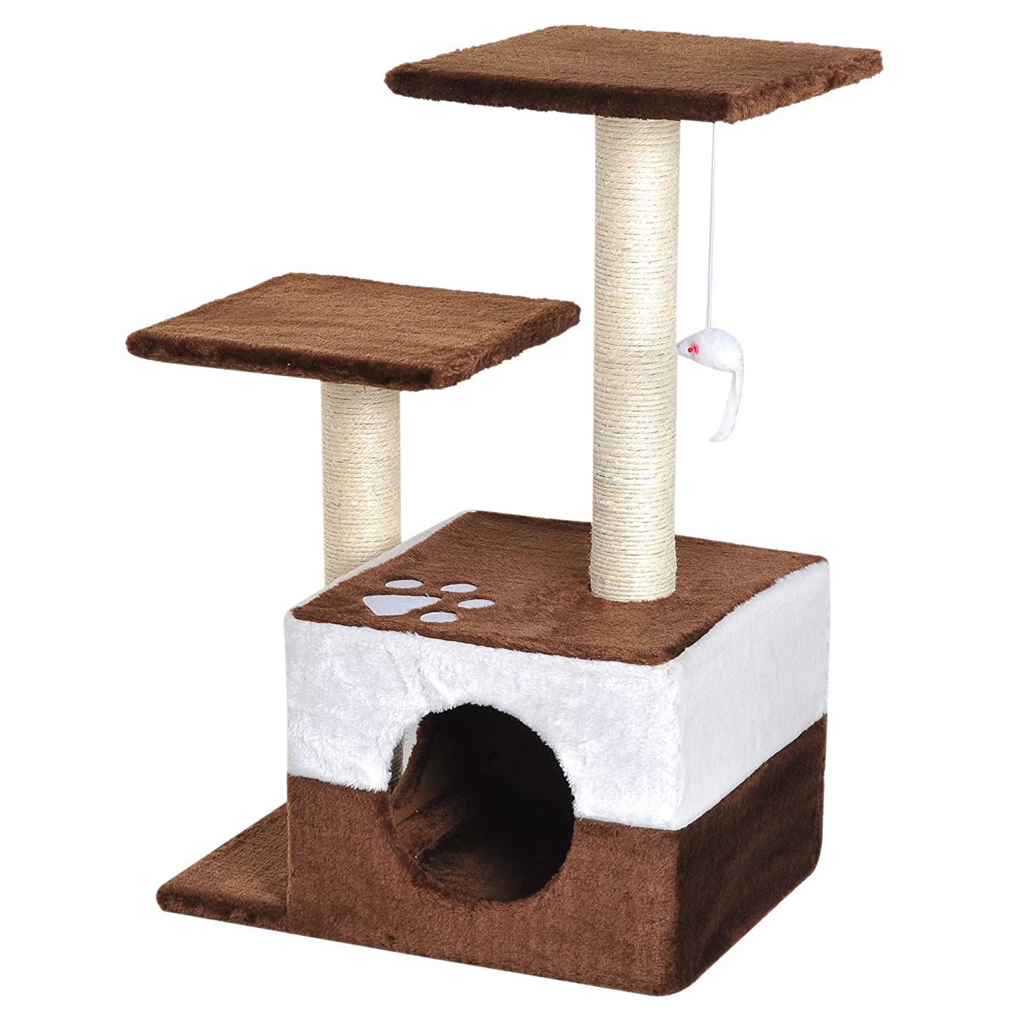 PawHut 28' Cat Tree Scratcher Kitten Condo Play House Activity Center w/Hanging Toy Brown Aosom Canada