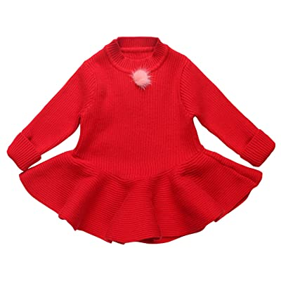 Coodebear Little Baby Girls' Cashmere Round Collar Bottoming Sweater Dress