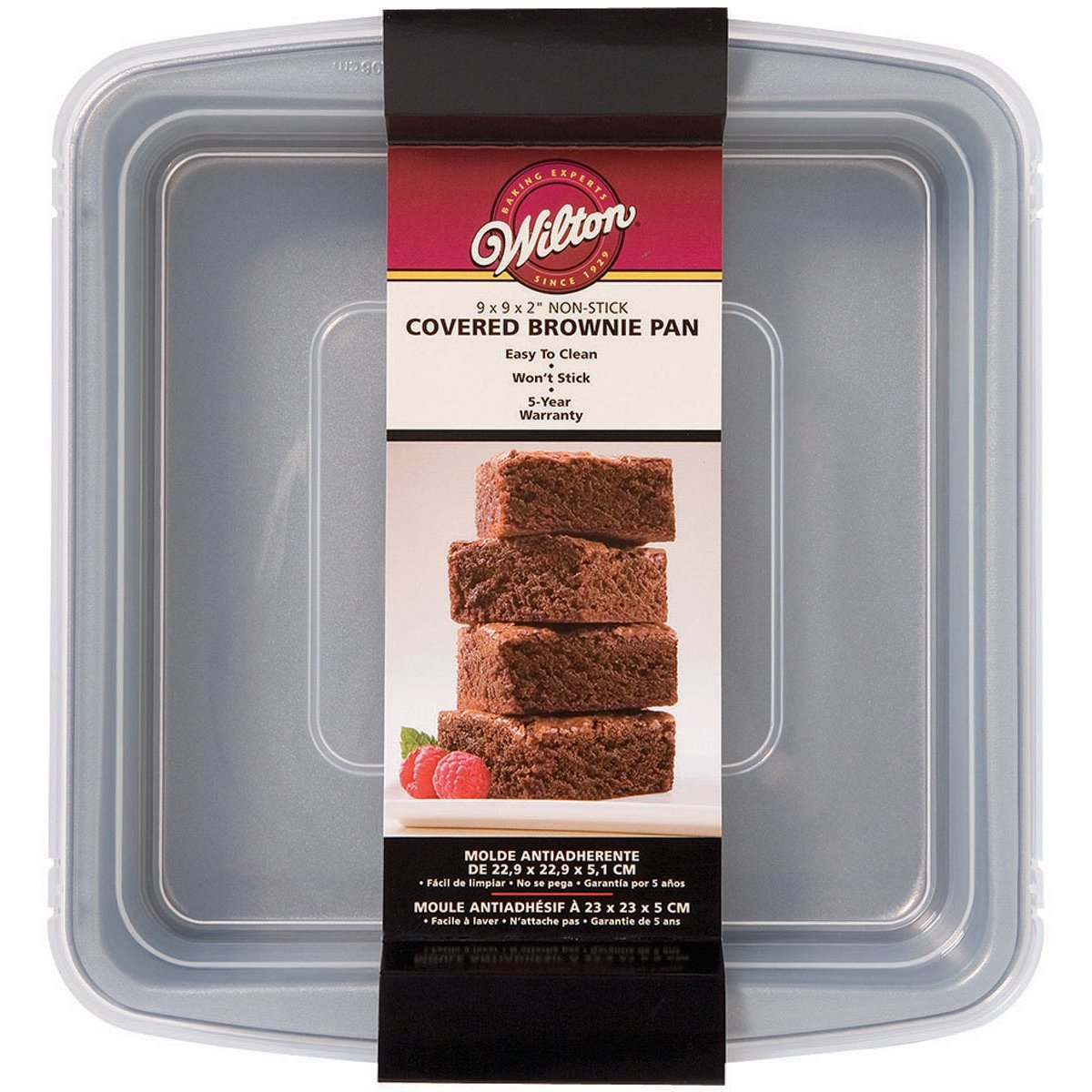 Wilton Recipe Right Non-Stick Square Brownie Baking Pan with Lid, Great for Transporting Your Dessert from Home to Party, 9-Inch x 9-Inch