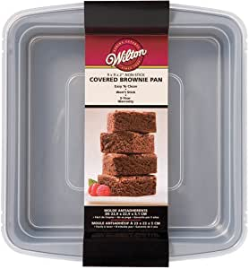 "Wilton Recipe Right Non-Stick Square Brownie Baking Pan with Lid, for Transporting Your Dessert from Home to Party, x 9-Inch, 9"" x 9"", Gray"