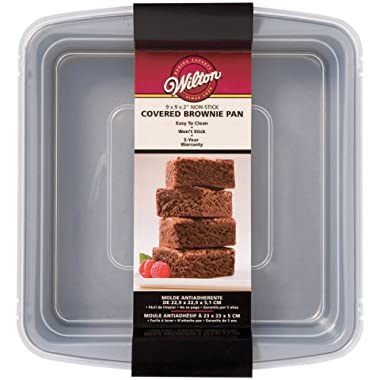 Wilton 2105-9199 Recipe Right Non-Stick 9-Inch x 9-Inch Sqaure Brownie Baking Pan with Lid