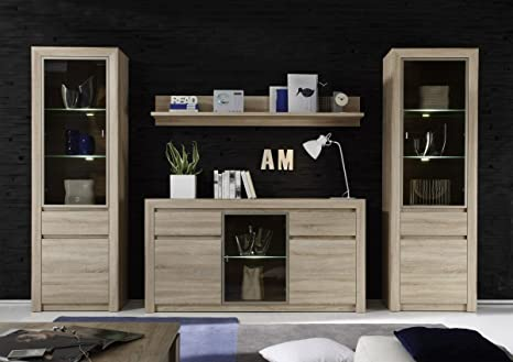 Dreams4home Lavis V Wall Unit Wall Unit With Sideboard Cabinet Unit Living Room Dining Room In Sonoma Light Oak Amazon De Kuche Haushalt