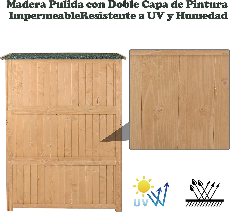 Outsunny Cobertizo de Madera Caseta Exterior Armario Herramientas de Jardinería Doble Puertas Techo Impermeable Compartimientos de Diferentes Tamaños ...