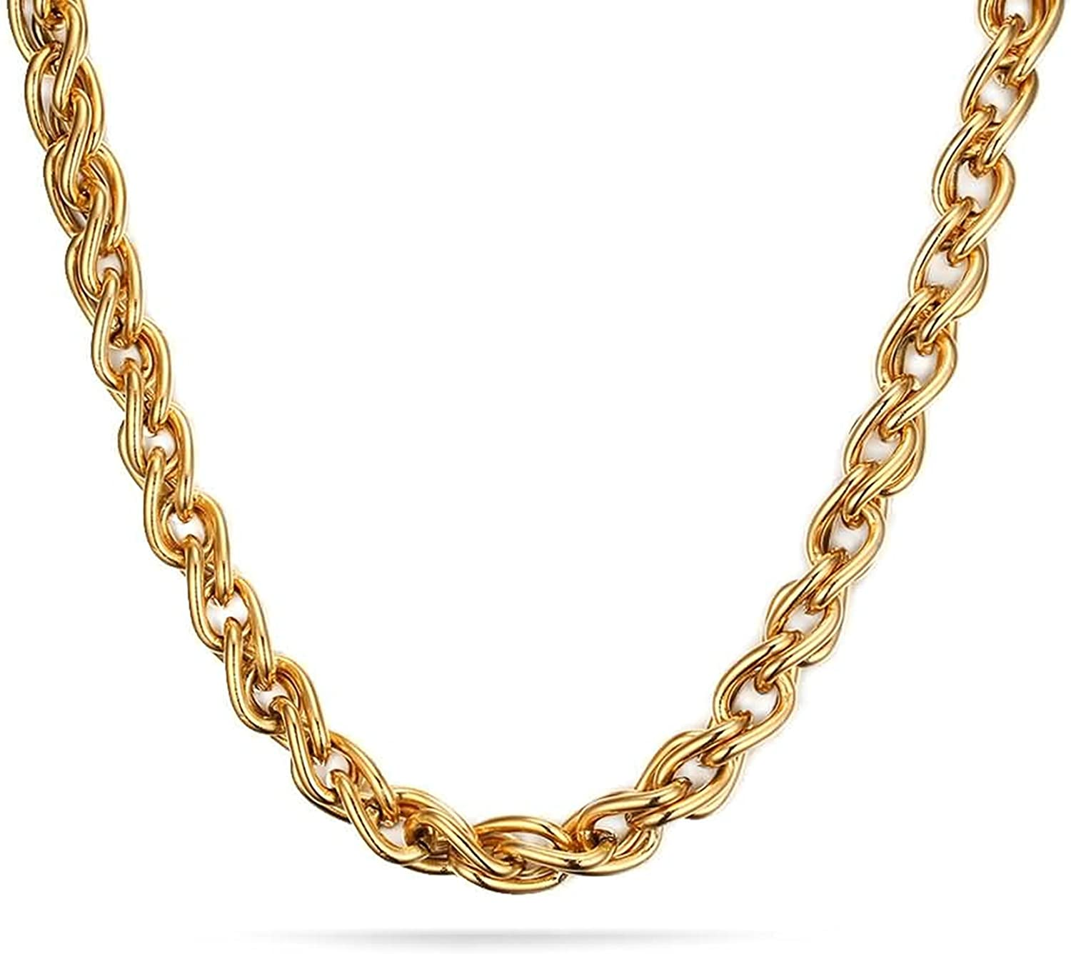 MoAndy Stainless Steel Jewelry Stainless Steel Mens Chain Necklaces Gold Double Curb Chain High Polished Hypoallergenic 61X0.7CM