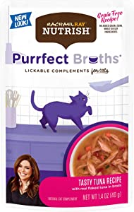 Rachael Ray Nutrish Purrfect Broths Natural Wet Cat Food, Tasty Tuna Recipe with Flaked Tuna & Veggies, 1.4 Ounce Pouch (Pack of 24), Grain Free