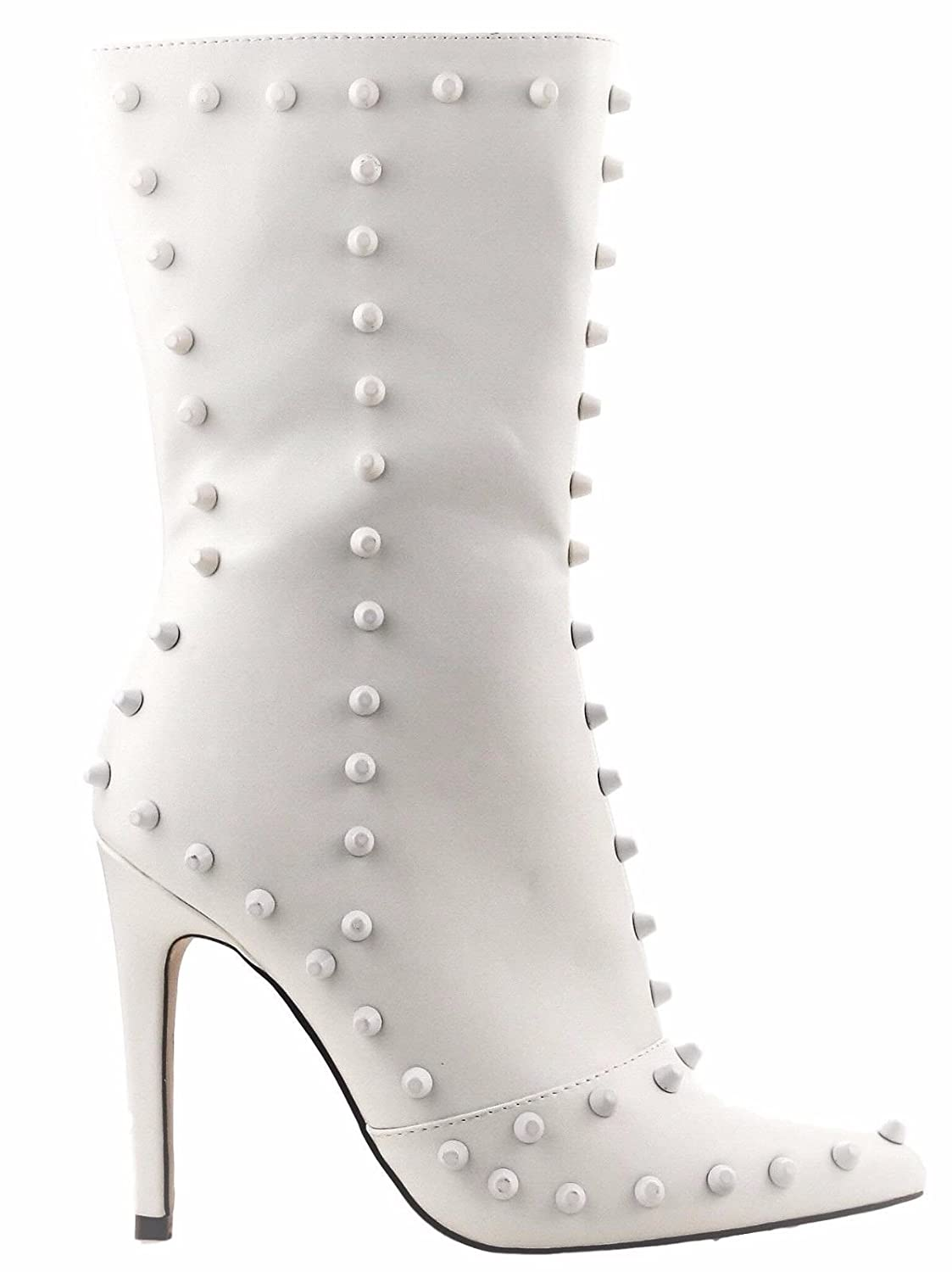 1cbfb0fca1f CAPE ROBBIN Gigi-162 Women's Ankle Boots High Mid Heels Pointed Toe Spike  Studs Stiletto White