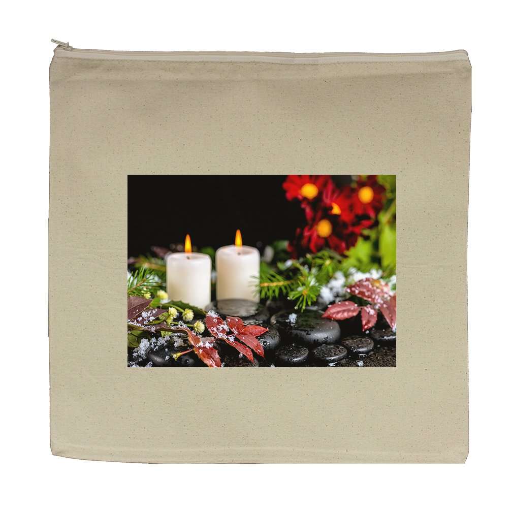 Canvas Zipper Pouch Tote Bag 5.5''X7.5'' Winter Spa Still Life Red Leaves Drops