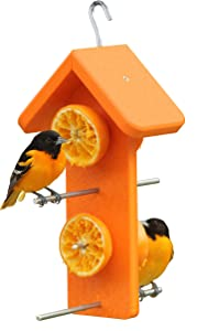 Kettle Moraine Recycled Double Oriole Orange Fruit Feeder