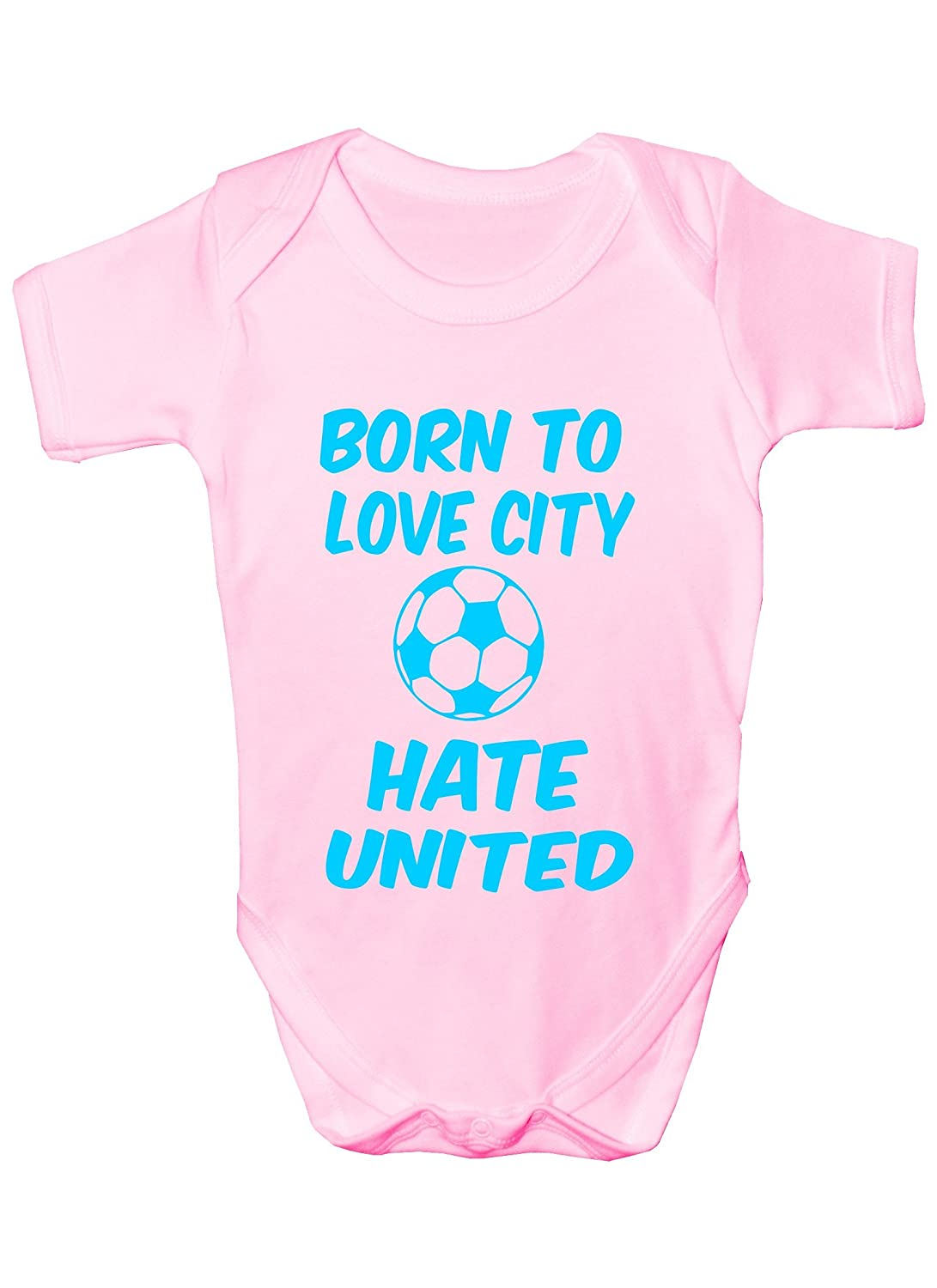 Love Man United Hate Man City Football Babygrow Vest Gift Boy Girl Baby Clothing