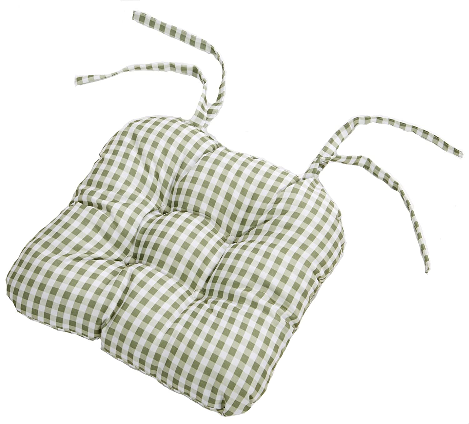 Country Look Sage Gingham Pack Of 4 Seat Pads (16in x 16in - 40cm x 40cm Approx) 4 Your Home