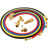 Lichamp 4 Pieces 5FT AC Manifold Gauge Hose Kit with 4 Pieces AC adapters Fits R134A R410A R404A R12 R22 R502 R1234YF…