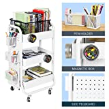 DESIGNA 3-Tier Metal Rolling Utility Cart with