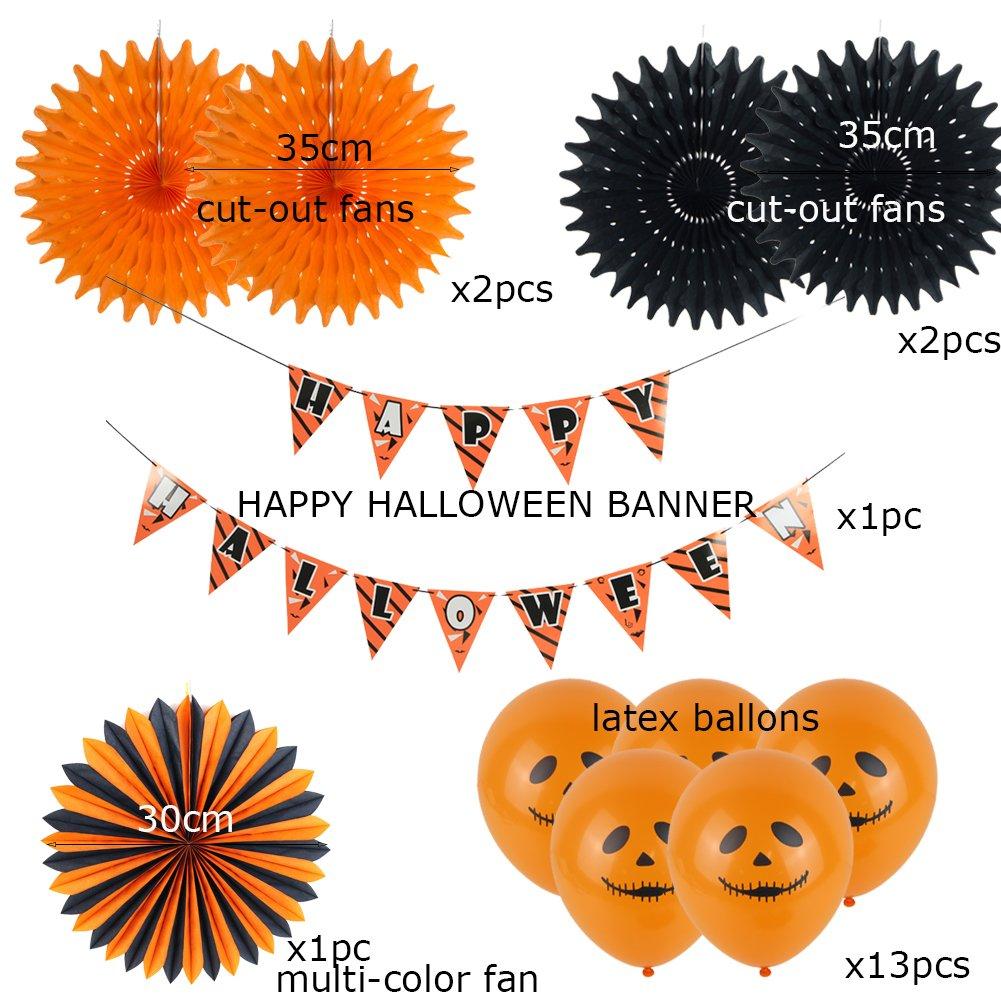 Easy Joy Decoraci/ón Fiesta de Halloween Paquete Guirnalda Banner Happy Halloween 5 Piezas Abanicos Negros y Naranjas Decoraci/ón para Mesa 19 Piezas 13 Piezas Globos Naranjas con Fantasmas