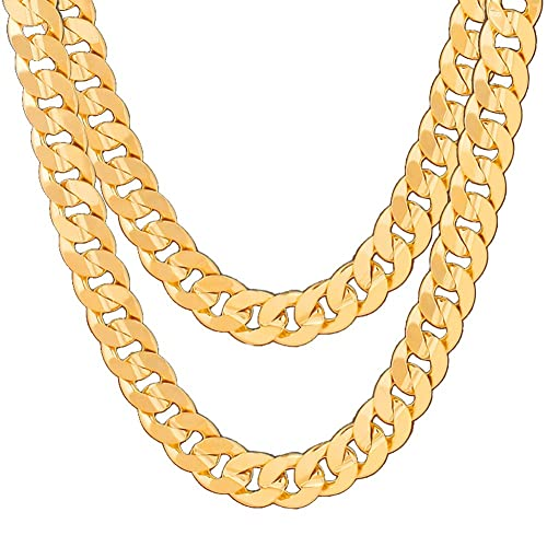 19bb170e71177 Mens Hip-Hop Tanks Chain 18K Gold-plated Non-fading Necklace (60cm ...