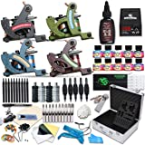 Dragonhawk Complete Tattoo Kit 4 Standard Tunings Tattoo Machines Power Supply 10 Color Immortal Inks Kuro Sumi Black Ink 50 Needles Tips Grips with Case D139GD