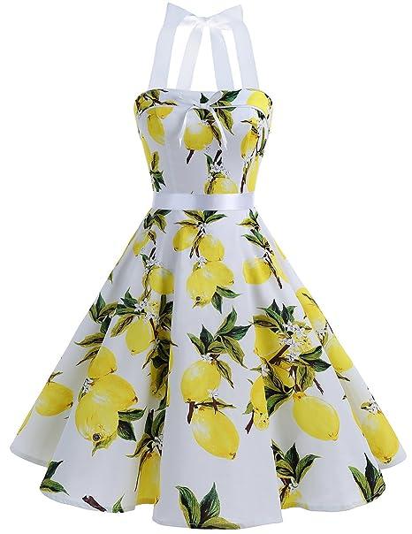 Dresstells reg; Vestido Mujer Corto Lunares Halter Retro Vintage Rockabilly Lemon 4XL