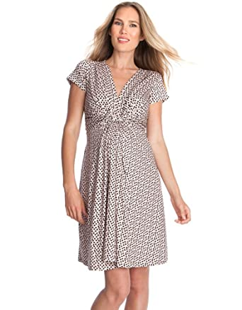 71049c9a77a81 Seraphine Jolene Knot Front Maternity And Nursing Dress - Short Sleeve -  Print - Pink Dot