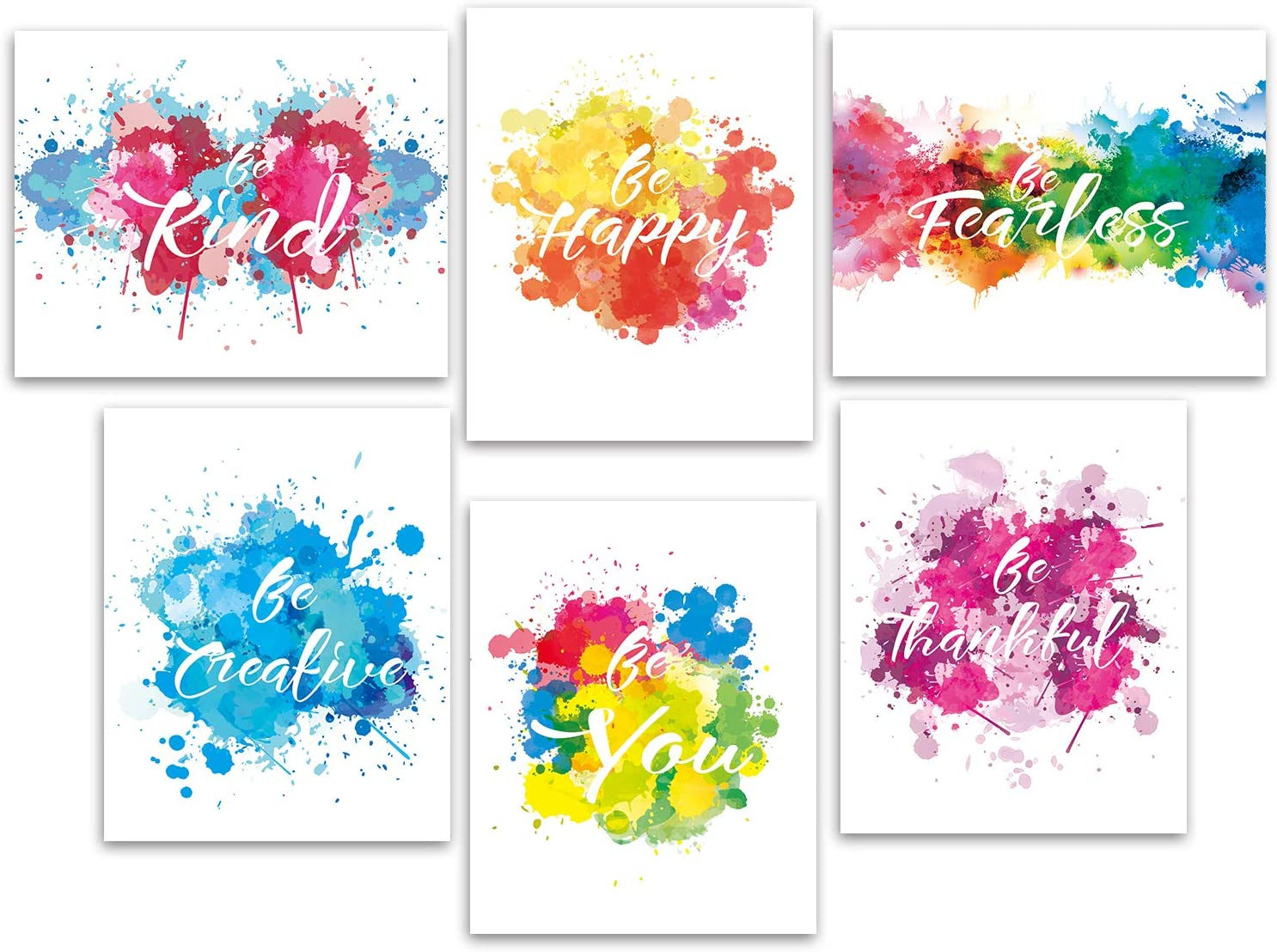 Motivational Colorful Wall Art Inspirational Quotes Art Prints,Picture Abstract Canvas Wall Decor for Office Girl Room Home Decor 6 pcs No Frame