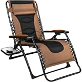 QOMOTOP Zero Gravity Chair, Lounge Chair Outdoor Lawn Chairs with Side Table and Adjustable Headrest, Support up to 350 lbs,