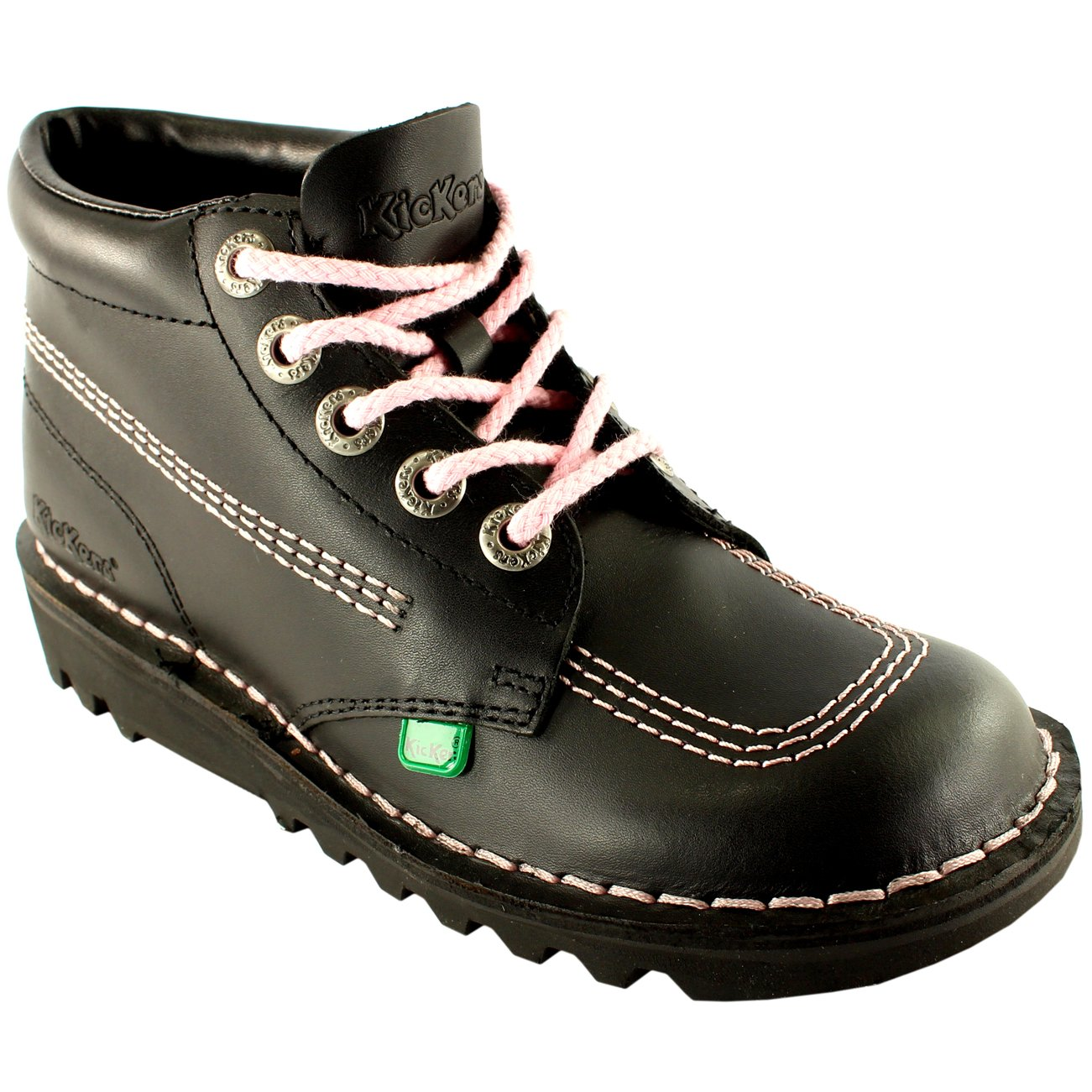 057b8432f6 Kickers Womens Kick Hi Classic Leather Office Work Ankle Boots Shoes -  Black Pink - 11  Amazon.co.uk  Shoes   Bags