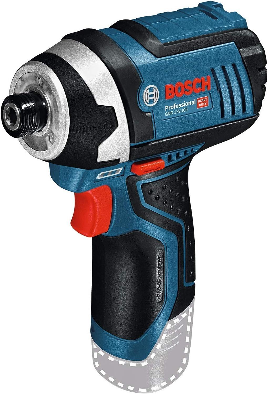 Bosch GDR 12V-105 - Atornillador de impacto (Litio-Ion polímero, 12 V) Negro, Azul