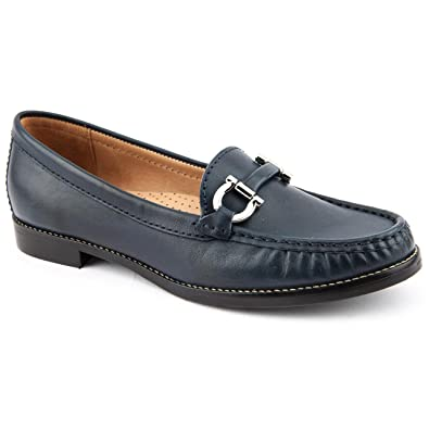 83fdc489b86 Ladies Jones Bootmaker Glasgow Navy Leather Loafers Size 9  Amazon ...