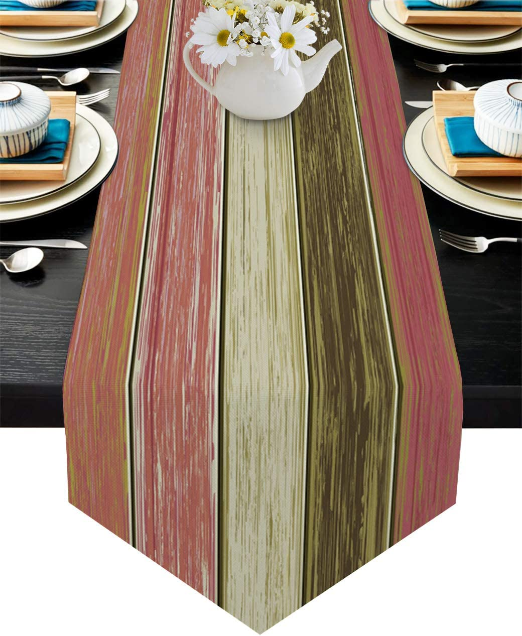 PIEPLE Retro Wooden Stripes Grain Table Runner 13 x 36 Inche Dresser Scarves, Red Tablerunner for Kitchen Coffee/Dining/End Table Bedroom Home Living Room,Scarfs Decor for Holiday Dinner