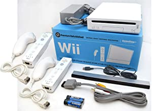 Nintendo Wii Video Game System with TWO Controllers and Nunchuks Bundle RVL-001 GameCube Console WHITE
