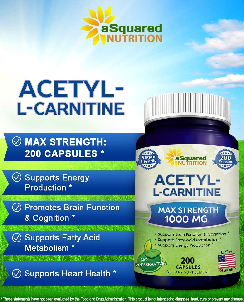 Pure Acetyl L-Carnitine 1000mg Max Strength – 200 Veggie Capsules – High Potency Acetyl L Carnitine HCL ALCAR Supplement Pills to Support Energy, Brain Function Fatty Acid Metabolism