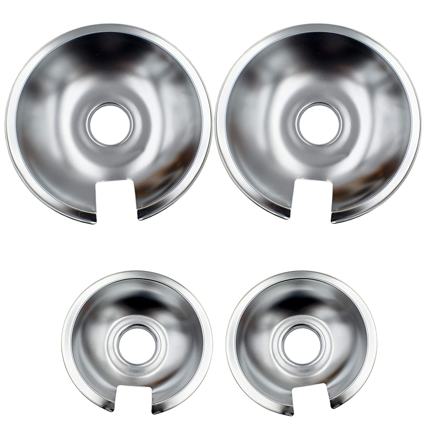 Supplying Demand 715878 715877 Chrome Drip Pan 4 Piece Set Compatible with Jenn Air (2) 6 Inch & (2) 8 Inch