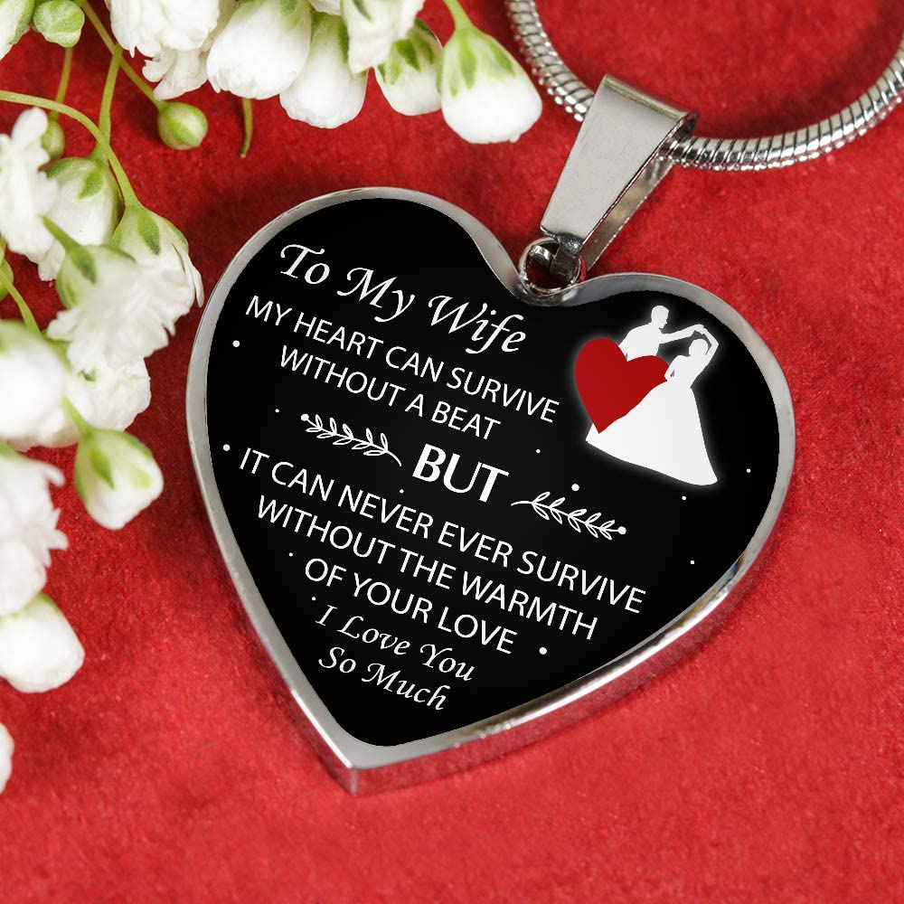 Heart Necklace for Birthday Wedding Valentines to My Wife My Heart Can Survive Without A Beat ROMOLO Silver Heart Pendant