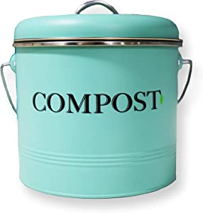 HDHF Countertop Compost Bin With Handle (0.9 Gallon) | Two Extra Free Filters | Indoor Celeste Blue Matt Bucket |Kitchen Trash Container for Food Scraps | Airtight Celeste Blue Matt Lid