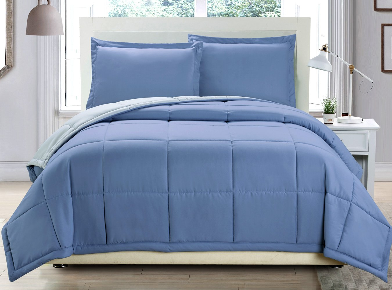3 piece Luxury Spa Blue / Grey Reversible Goose Down Alternative Comforter set