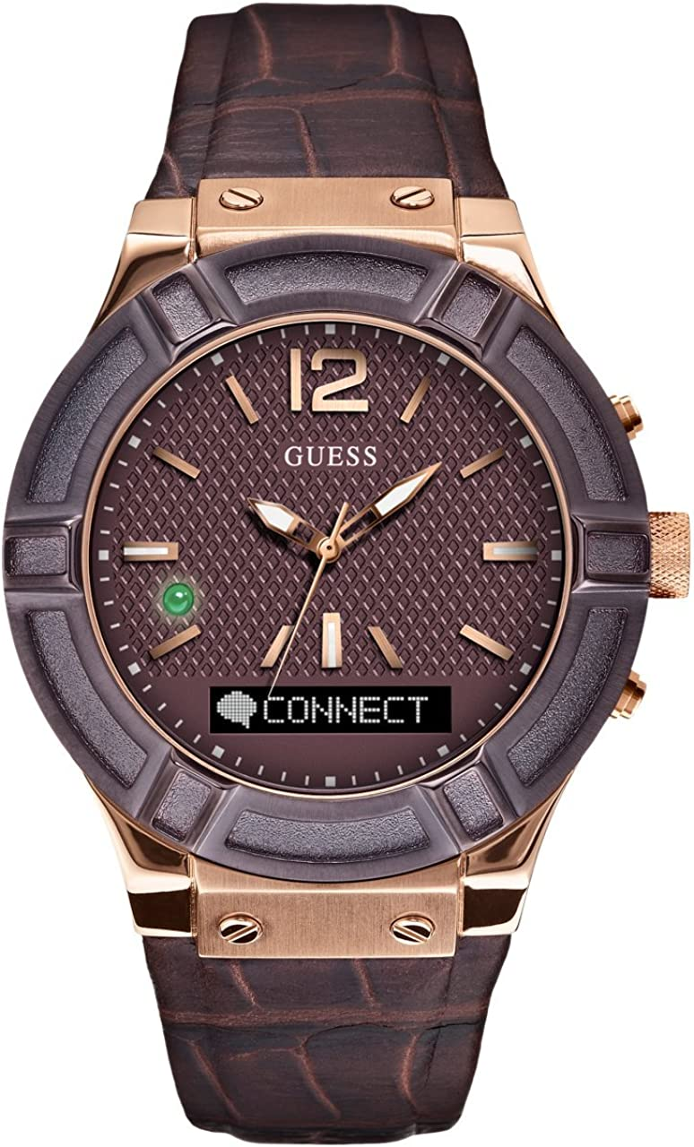GUESS Men s Stainless Steel Connect Smart Watch – Amazon Alexa, iOS and Android Compatible iOS and Android Compatible, Color Brown Model C0001G2
