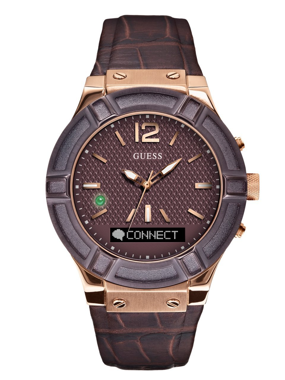 GUESS Men's CONNECT Smartwatch with Amazon Alexa and Genuine Leather Strap Buckle - iOS and Android Compatible -  Rose Gold by GUESS
