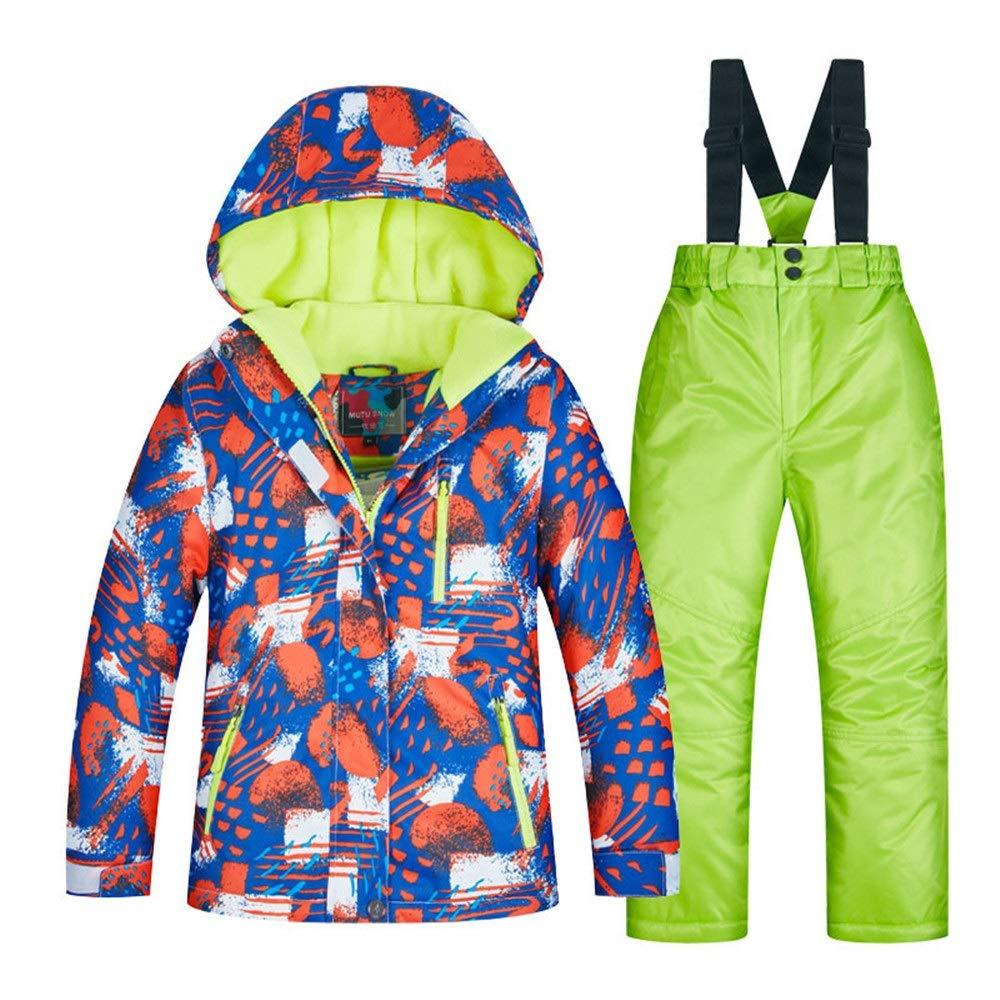 スキーウェア 子供用スキースーツ男の子セットベニヤダブルボード冬厚く暖かい暖かいスキースーツ 耐性ジャケット (色 : C7+green pants, サイズ : 8 yards) B07MH152QB 8 yards C8+green pants C8+green pants 8 yards