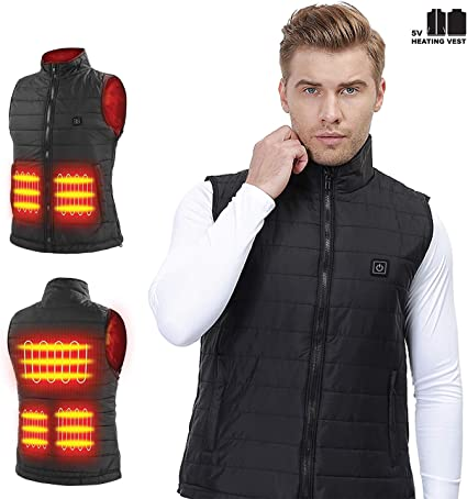 FANSHONN Winter Unisex Adjustmen USB Electric Heating Vest Lightweight Heated Waistcoat Portable Source Not Included