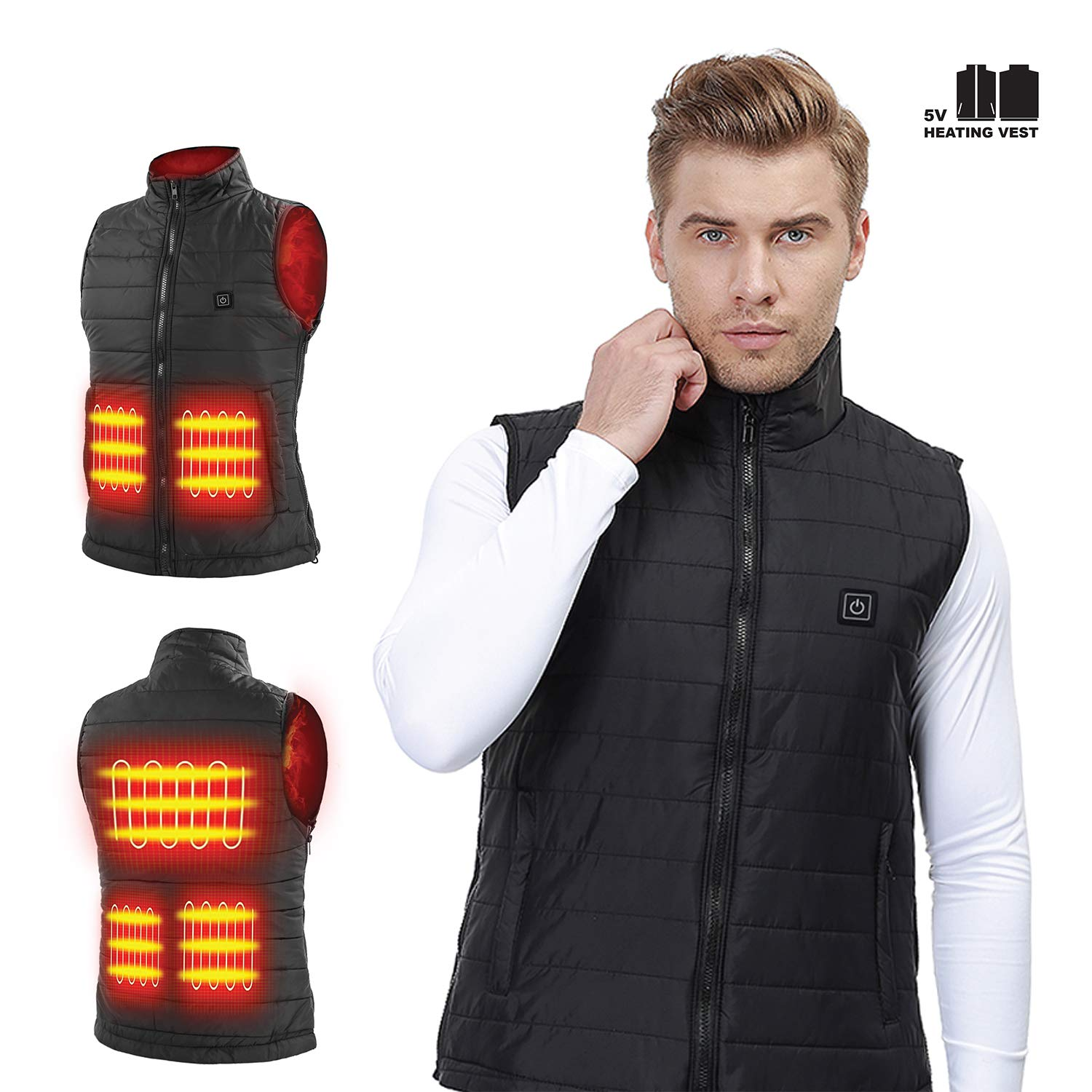 Heated USB Electric Puffer Vest Heating Jacket Cold-Proof Warm Clothes Washable More Sizes Adjustment (Battery Not Included)