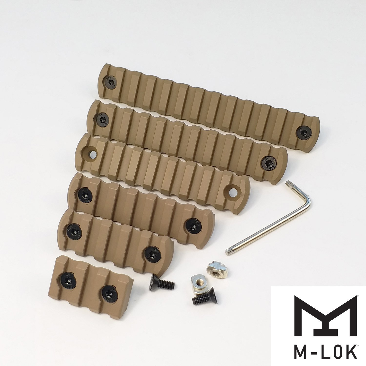 3,5,7,9,11,13 slot Aluminum Picatiny Rail Section M-Lok Type Tan color 6pcs pack by Unknown