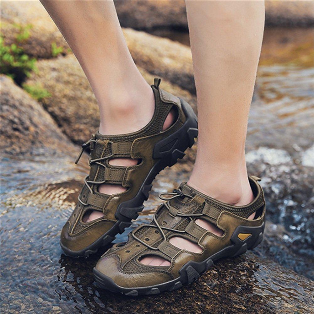 Wagsiyi Hausschuhe Sandalen Herren Outdoor Freizeitschuhe Leder Grün (24,0-27,0) Sandalen Collision Breathable Schuhe (24,0-27,0) Grün cm Strandschuhe Grün 52d69e