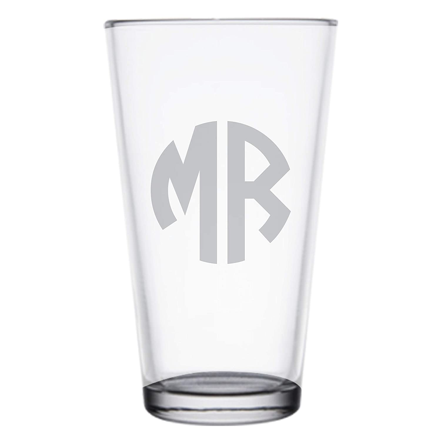 Amazon Com Deep Etched Custom Engraved Monogram Pint Glass 16 Oz Personalized Pint Glasses For Him Christmas Gifts For Dad Pg08 Handmade