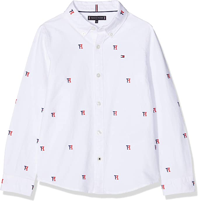 Tommy Hilfiger Allover TH Oxford Shirt L/S Camisa Manga Larga para Niños: Amazon.es: Ropa y accesorios