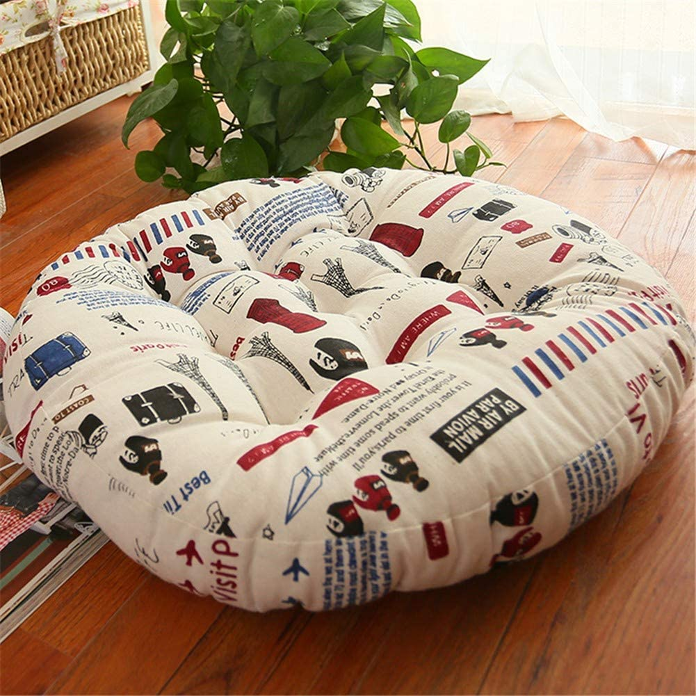 WJLK Oversized Cotton And Linen Seat Cushions Thick Round Chair