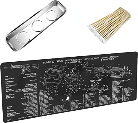 Amazon.com : YCWEI YCWEI Gun Cleaning Mat Pad (36 by 12 Inches)-with Magnetic Screws Tools Parts for Handgun Rifle Cleaning-Non Slip and Solvent Resistant- with Parts Diagram : Sports & Outdoors