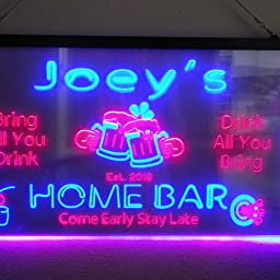 Amazon Com Advpro Personalized Your Name Custom Home Bar Beer Established Year Dual Color Led Neon Sign White Purple 16 X 12 Inches St6s43 P1 Tm Wp Home Kitchen