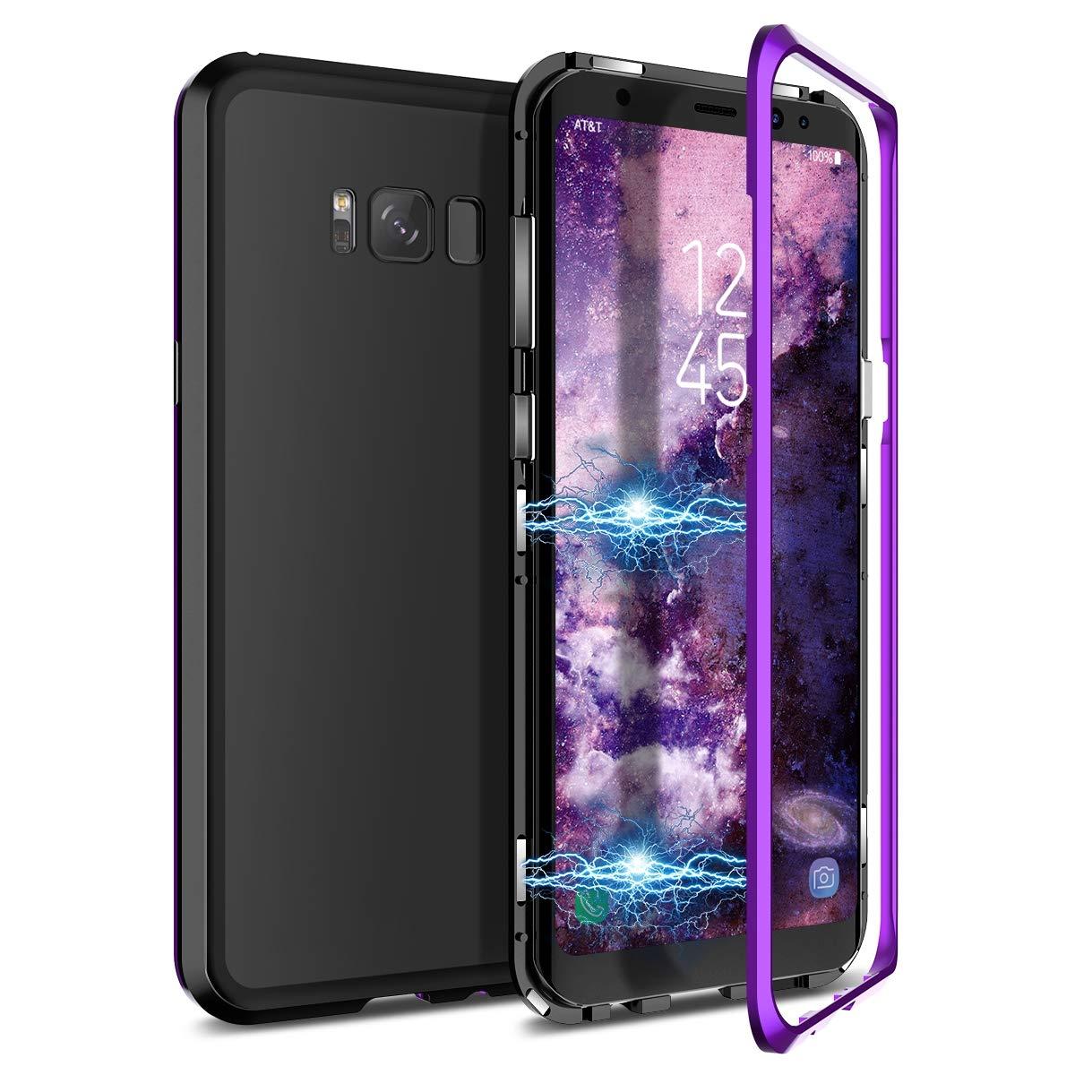 CE-Link Samsung Galaxy S8 Hü lle Glas mit Magnetisch Panzerglas Durchsichtig Handyhü lle Transparent Ultra Slim Dü nn 360 Grad Schutzhü lle Bumper Schutz - Schwarz Glass